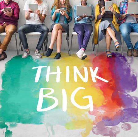 optimism: Think Big Attitude Creative Inspiration Optimism Concept