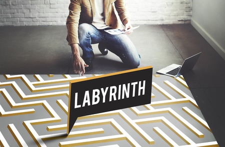 complexity: Labyrinth Challenge Complexity Business Decision Concept