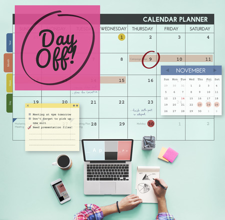 free time: Day Off Free Time Relax Vacation Holiday Schedule Concept