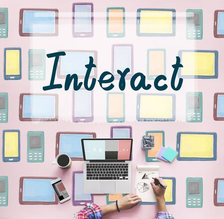 keep in touch: Interact Socialize Communication Connection Togetherness Concept Stock Photo