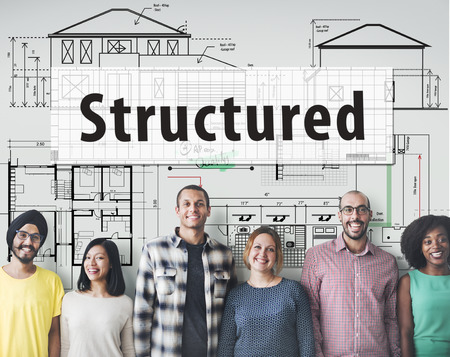 structured: Structured Building Construction Design Plan Concept Stock Photo