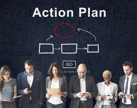plan de accion: Action Plan Planning Strategy Vision Tactics Objective Concept Foto de archivo
