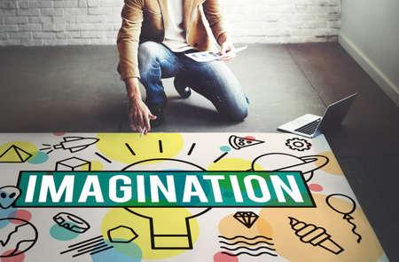 visualise: Imagine Vision Inspiration Creativity Dream Big Concept Stock Photo