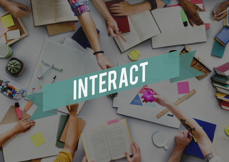 interact: Interact Communication Community Connect Concept Stock Photo