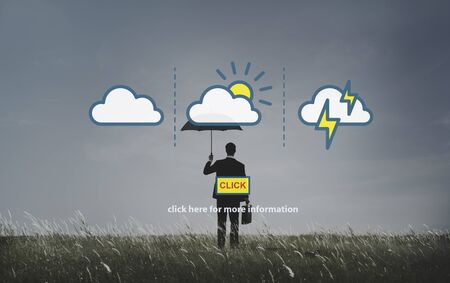 emotional stress: Weather Forecast Lightning Clouds Report Concept Stock Photo