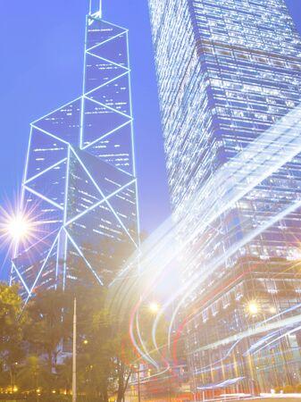 hong kong city: Hong Kong City Lights Night Concept