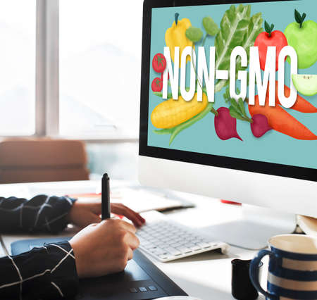 genetically modified crops: Non-GMO Nature Organic Plant Technology Concept