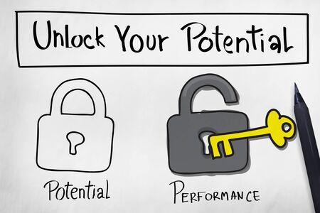 Odblokuj swój potencjał Poprawa umiejętności Concept