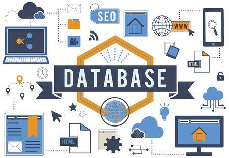 data archiving: Database Computer System Digital Storage Concept