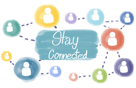 socialize: Stay Connected Communication Socialize Interact Concept Stock Photo