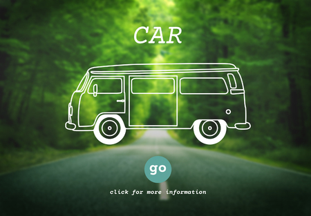 travel destination: Car Travel Destination Trip Adventure Traveling Concept Stock Photo
