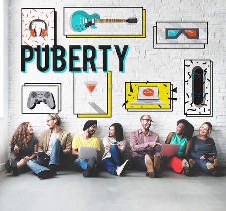 pubertad: Pubertad Adolescencia Edad Cambio Concepto Crecimiento Vida Foto de archivo