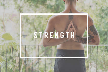 tight focus: Strength Anxiety Power Stress Strong Success Concept