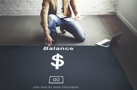 Man with balance concept on the floor Banco de Imagens