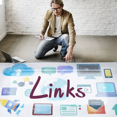 linkage: Links Backlinks Hyperlink Linkage Internet Online Concept