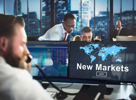 stock market launch: New Markets Business Innovation Global Business Concept