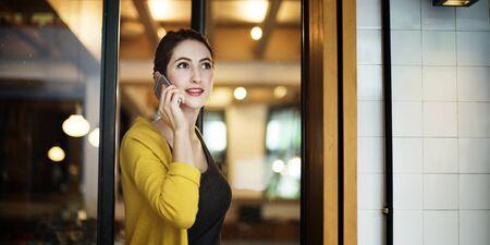 mobile communication: Woman Mobile Phone Connection Talking Communication Concept