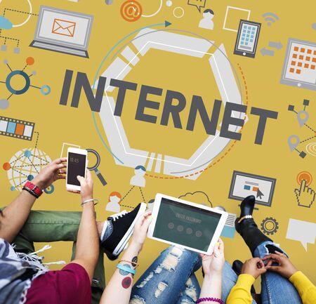 person computer: Internet Global Communication Connection Data Concept
