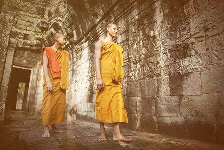 siam: Contemplating monk, Angkor Wat, Siam Reap, Cambodia.