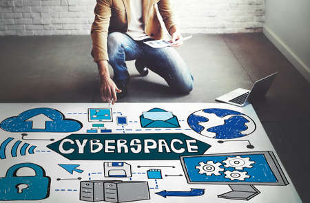 cyberspace: Cyberspace Technology Cyber Online Virtaul Reality Concept Stock Photo