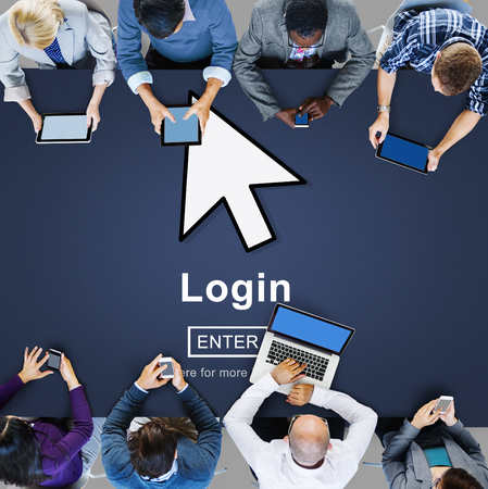 log on: Log In Profile Enter Arrow Icon Concept Stock Photo
