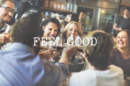 Fühlen Sie sich gut hervorragend Glück Positives Denken Konzept