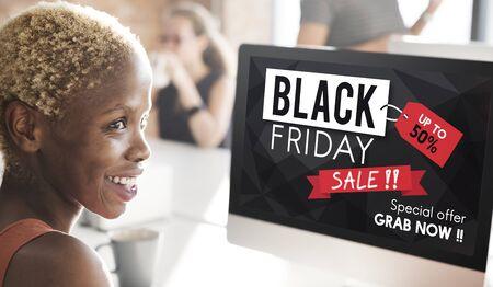 half price: Black Friday Discount Half Price Promotion Concept Stock Photo