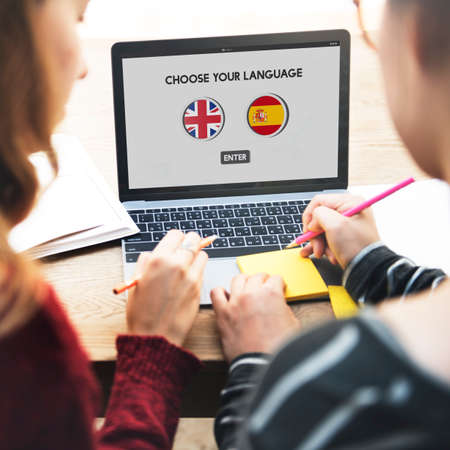 language dictionary: Language Dictionary English Spanish Concept Stock Photo