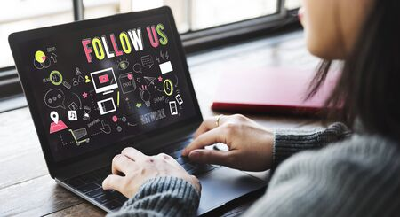 find us: Follow Us Social Network Connect Social Media Concept Stock Photo