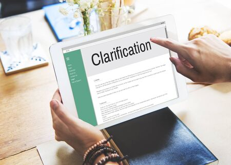 justify: Clarification Determination Explanation Question Concept Stock Photo