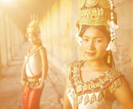 southeast asian ethnicity: Traditional Aspara Dancers Cambodia Concept