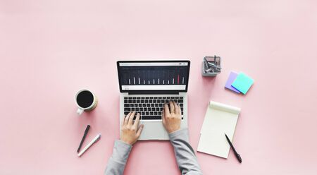 small business woman: Computer Laptop Research Working Desk Concept