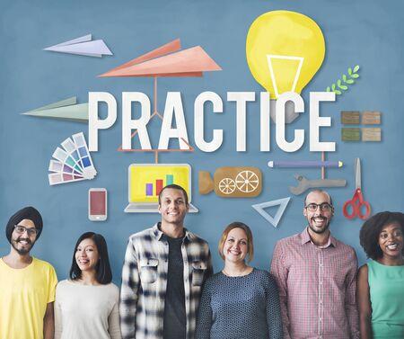 observe: Practice Method Observe Operation Perform Utilize Concept Stock Photo