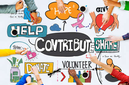 contribute: Contribute Corporate Collaboration Support Contribution Concept Stock Photo