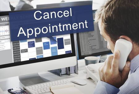 businessman waiting call: Cancel Cancellation Appiontment Postpone Concept