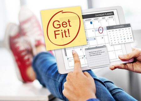 get a workout: Get Fit Health Physical Training Schedule To Do Concept