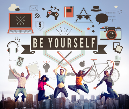 self esteem: Be Yourself Self Esteem Confidence Encourage Motivation Concept