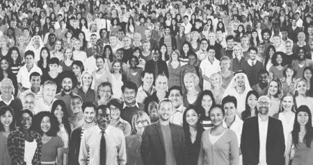 Grote Groep Diverse Multietnische Vrolijke Mensen Concept Stockfoto