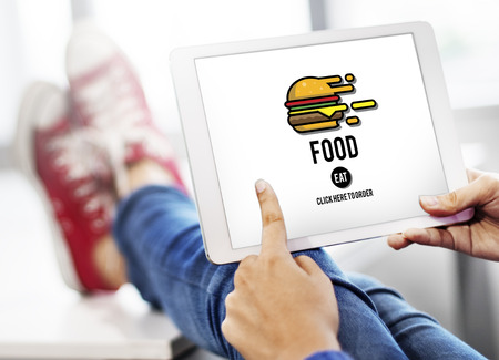 食品バーガー食べて栄養コンセプト ダイニング 写真素材