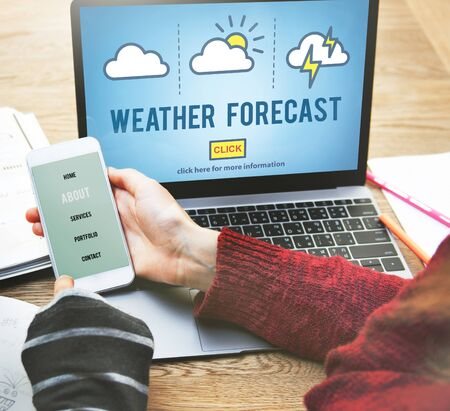 meteorology: Weather Forecast Temperature Meteorology Concept Stock Photo