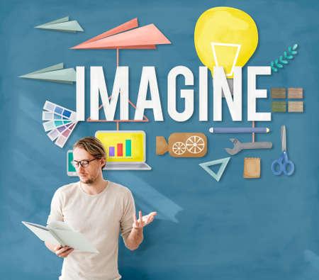 visualise: Imagine Creative Dream Expect Ideas Vision Concept Stock Photo