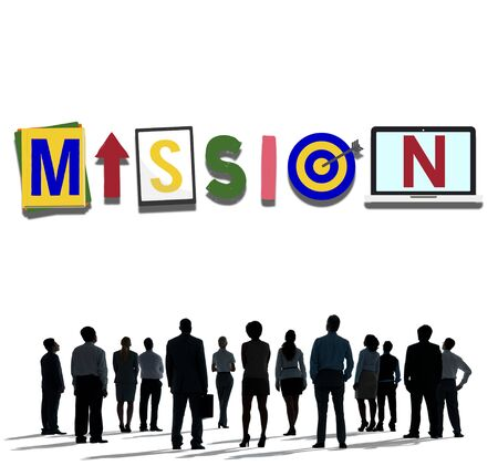 man rear view: Mission Objective Plan Strategy Target Goals Aspirations Concept