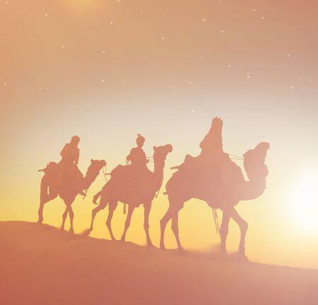 wise men: Three Wise Men Camels Desert Concept Stock Photo