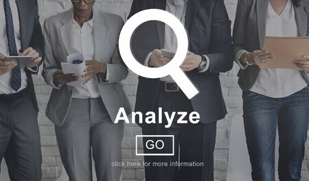 analyze: Analyze Information Insight Connect Data Website Concept