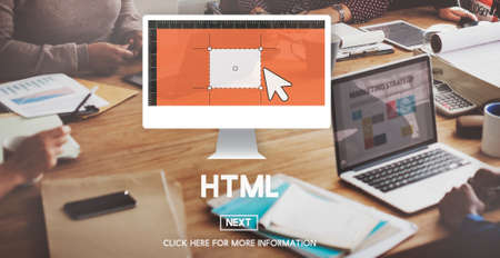 html: HTML Coding Computer Homepage Internet Network Concept Stock Photo
