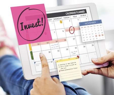 budgeting: Invest Assets Finance Budgeting Schedule To Do Concept Stock Photo
