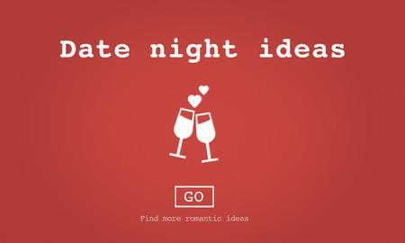 date night: Date Night Ideas Valentine Romance Heart Dating Concept Stock Photo