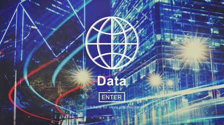 hong kong night: Data Global Information Icon Concept Stock Photo