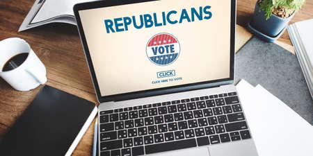 electronic voting: Republican Democrat Election Group President Concept Stock Photo