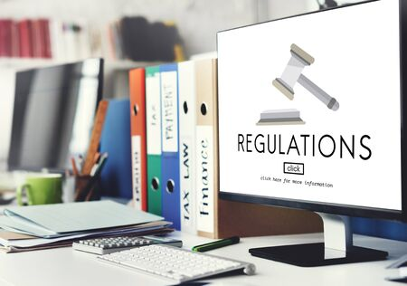 place of work: Regulations Business Condition Legal Protocol Concept Stock Photo